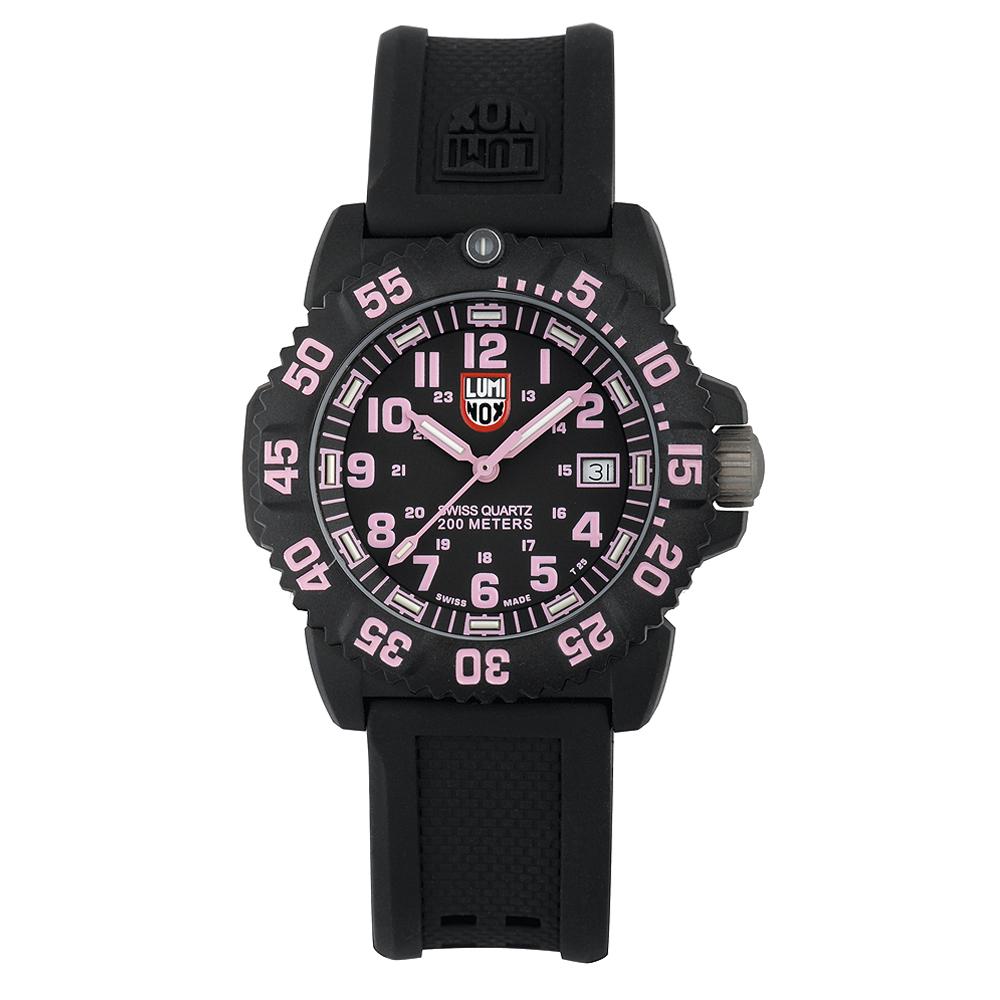 Luminox 海豹部隊指標系列經典腕錶-黑x粉時標/38mm