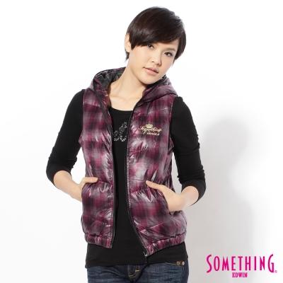 SOMETHING保暖格紋羽絨背心-女款-紫色