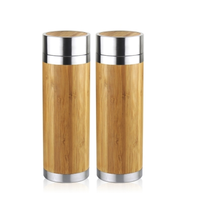 [買一送一]WOKY沃廚 316不鏽鋼和風竹雅真空保冷保溫瓶300ML附濾茶網