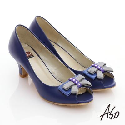A.S.O 軟芯系列 全真皮立體水鑽蝴蝶結魚口鞋 藍