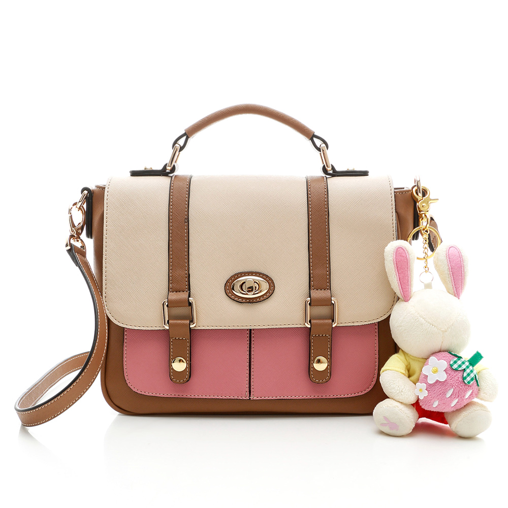 PLAYBOY- Strawberry 草莓兔系列2WAY轉釦書包-粉紅色