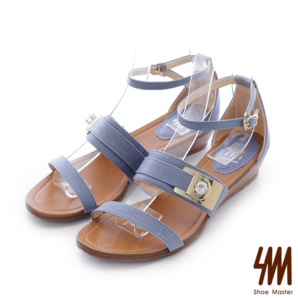 SM-羅馬系列-金屬水鑽飾釦一字低跟楔型涼鞋-藍色