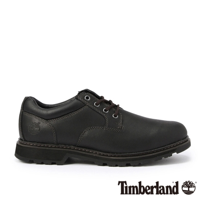 Timberland 男款黑色皮革素面綁帶淺口鞋