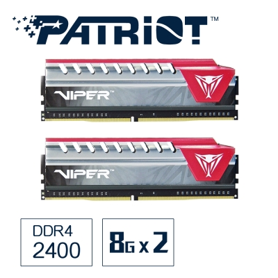 Patriot 菁英戰蛇 DDR4 2400 16G(2x8G)桌上型極速記憶體-紅色