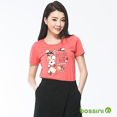 bossini女裝-印花短袖T恤04珊瑚色