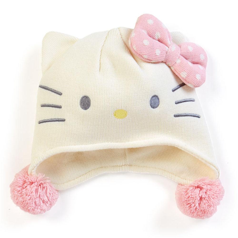 Sanrio  HELLO KITTY女童用造型保暖針織帽(點點粉蝴蝶結)