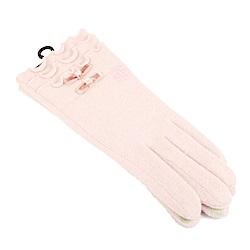 CLATHAS 安哥拉混羊毛絲絨蝴蝶結觸控手套(粉色)