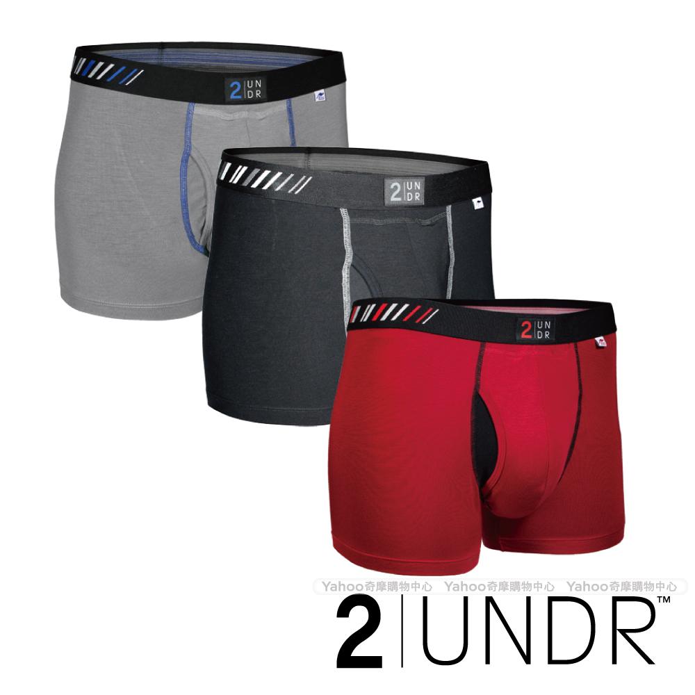 2UNDR Swing Shift 莫代爾吸排四角內褲(3吋)紅黑灰
