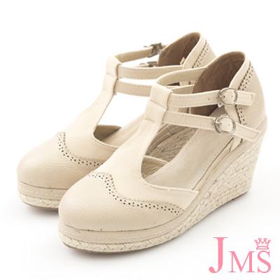 JMS-學院風異材質拼接素面雙扣楔型娃娃鞋-杏色