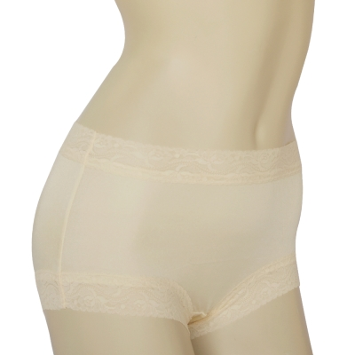 平口褲 100%蠶絲蕾絲平口內褲2件組M-XXL(膚色) Seraphic