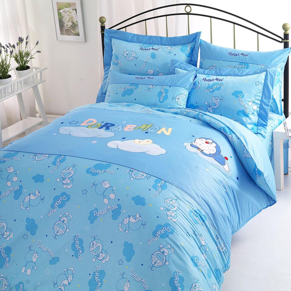 享夢城堡 精梳棉雙人床包兩用被套四件組-哆啦A夢DORAEMON 星光閃閃-藍