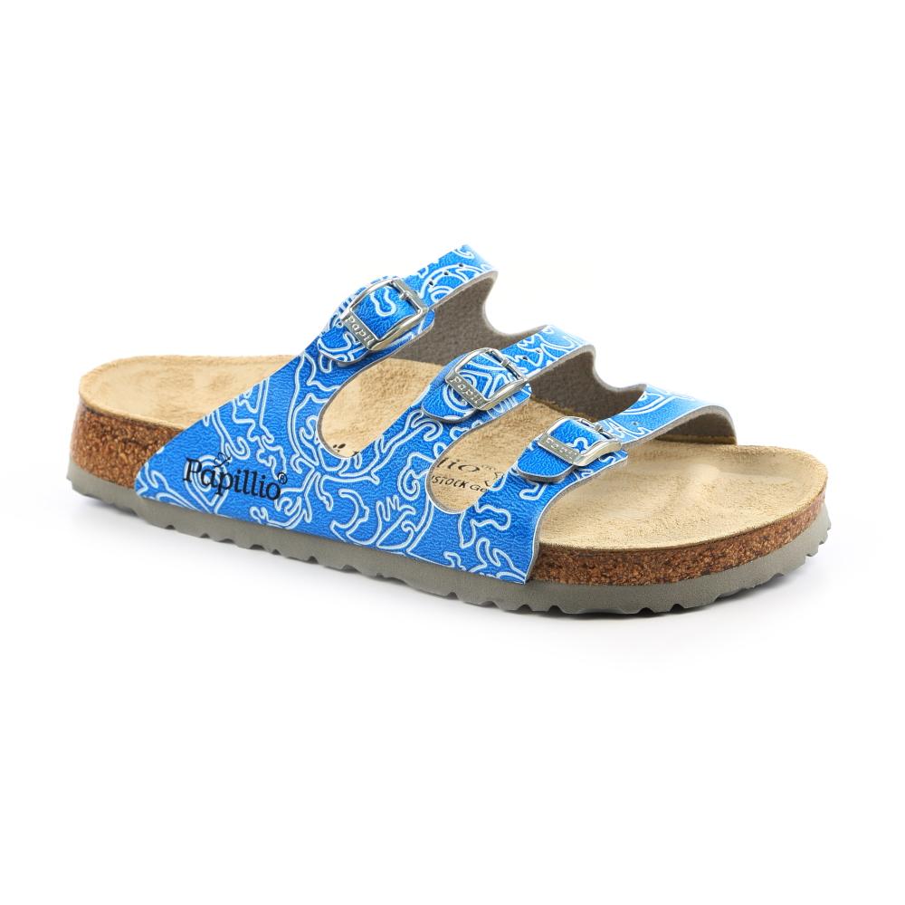 勃肯Papillio 754621。FLORIDA佛羅里達 三條復古拖鞋(天藍細紋)