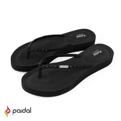 Paidal質感鑽飾膨膨氣墊美型夾腳拖鞋-耀岩黑
