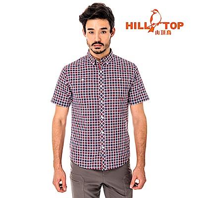 【hilltop山頂鳥】男款吸濕排汗抗UV短襯衫S06M65-紅格紋