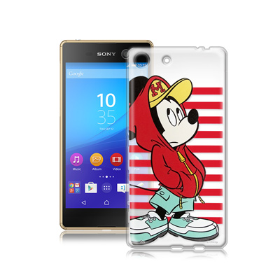 迪士尼SONY Xperia M5 E5653 街頭透明軟式手機殼(帽T米奇)