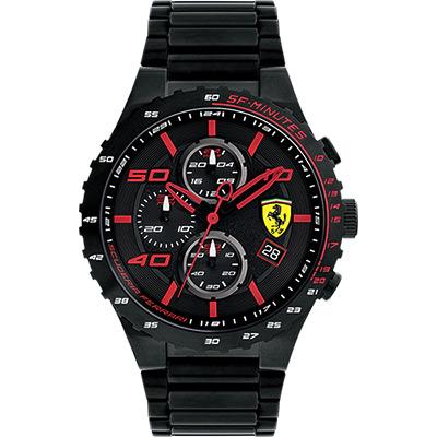 Scuderia Ferrari 法拉利 evo 三眼計時腕錶-紅時標x鍍黑/46mm