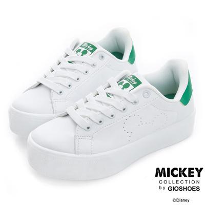 DISNEY 經典融合 米奇厚底綁帶休閒鞋-白綠(女)
