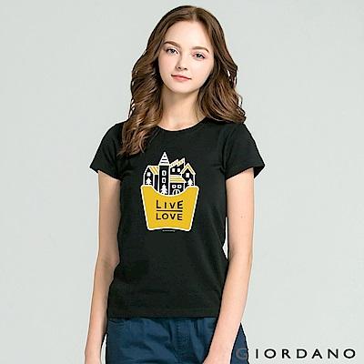 GIORDANO 女裝純棉Life印花T恤-54 標誌黑