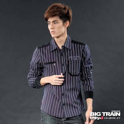 BIG TRAIN-配條絨條紋襯衫-黑