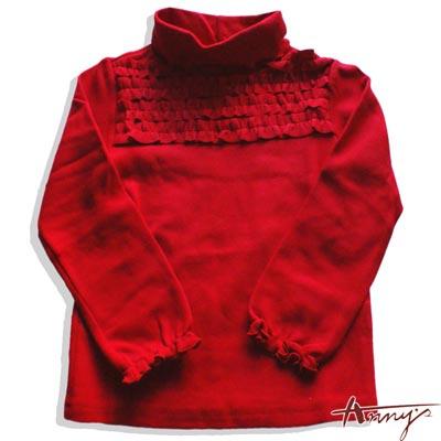 Anny高領荷葉袖口長袖上衣*2443紅