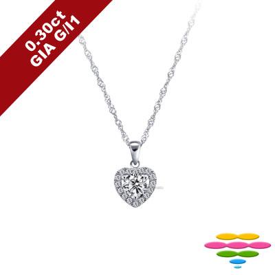 彩糖鑽工坊 GIA鑽石 30分 G/I1 1EX車工 愛心鑽石項鍊