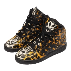 Adidas Originals Jeremy Scott豹紋高筒球鞋(黑色)