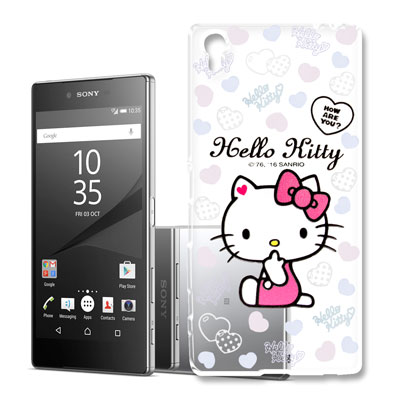 Hello Kitty 索尼 Z5 Premium 浮雕彩繪透明軟殼(心愛凱蒂)