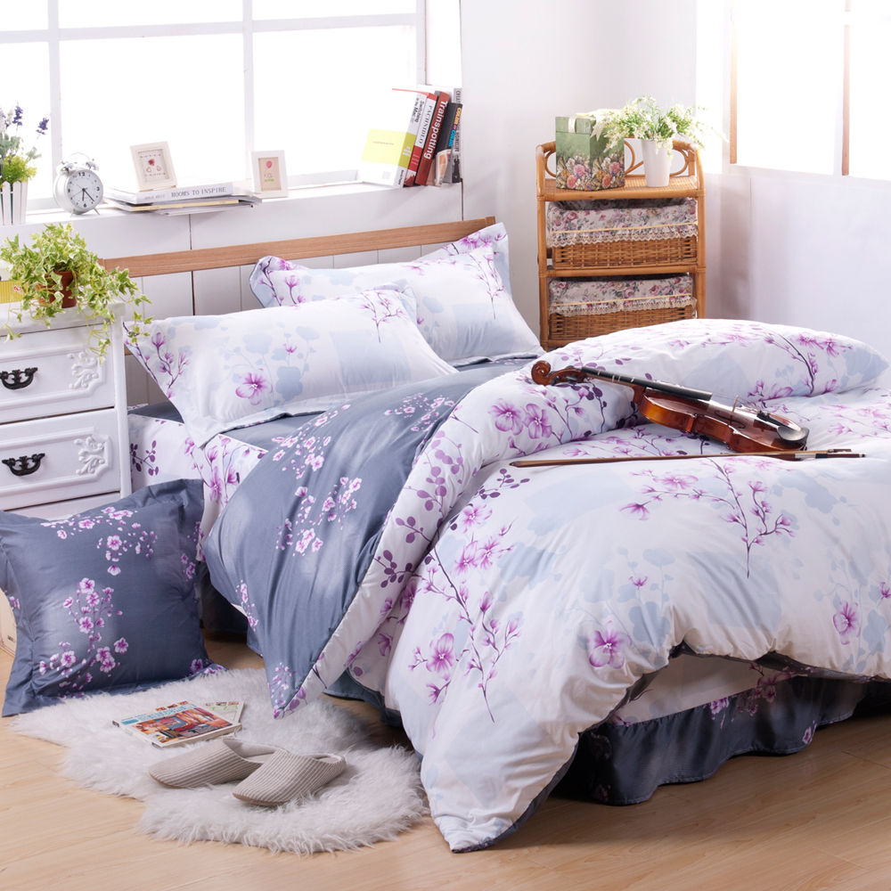 沙比瑞爾Saebi-Rer-花境夢語 台灣製活性柔絲絨加大六件式床罩組