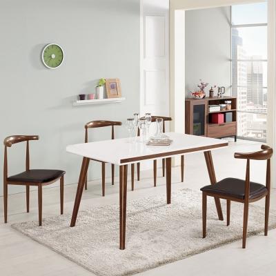 Bernice-艾麥德4.3尺玻璃餐桌椅組(一桌四椅)-130x80x77cm