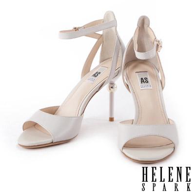 高跟涼鞋 HELENE SPARK 金屬電鍍球跟羊皮繫帶高跟涼鞋-米
