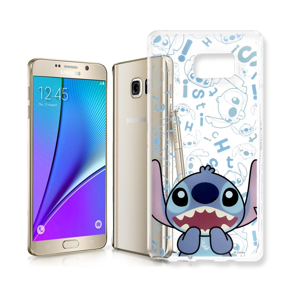 迪士尼 Samsung Galaxy Note 5 大頭透明手機軟殼(摀嘴史迪奇)