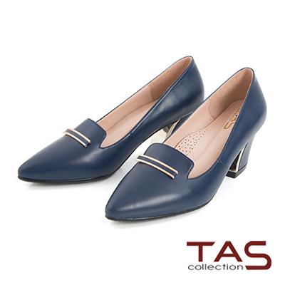 TAS-一字金屬飾扣羊皮樂福高跟鞋-知性藍