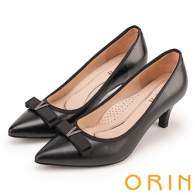ORIN 典雅氣質 V字鑽飾羊皮百搭尖頭高跟鞋-黑色