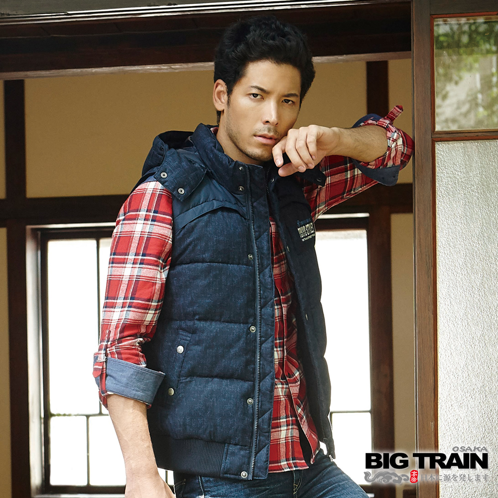 BIG TRAIN 法蘭絨格紋襯衫-男-紅藍