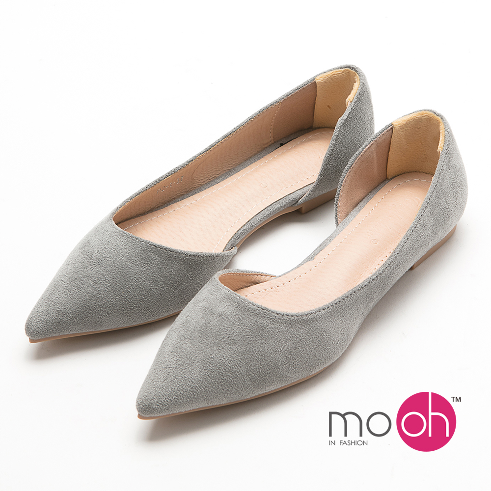 mo.oh -尖頭麂皮絨側鏤空平底鞋娃娃鞋-灰色