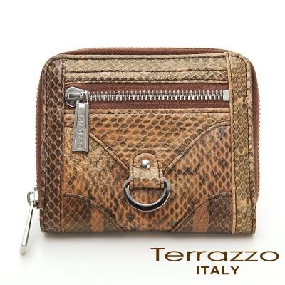 義大利Terrazzo - 時尚蛇皮造型五金短夾-咖啡色71S0693A