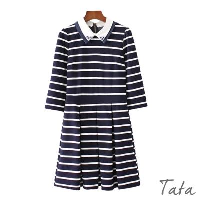 七分袖領口鑲鑽條紋洋裝-TATA