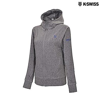 K-Swiss Track Knit Jacket 運動連帽外套-女-灰