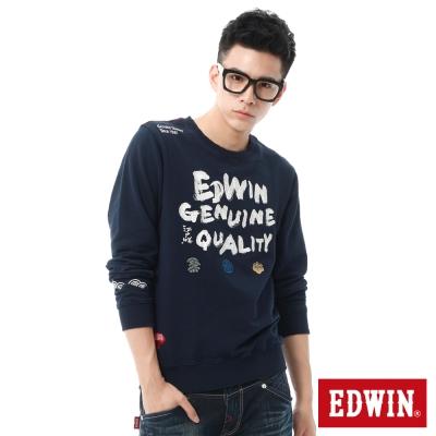 EDWIN江戶勝-日式風格刺繡長袖T恤-男-丈青
