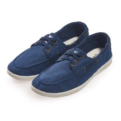 (女)Natural World 西班牙休閒鞋 素面3孔綁帶款*藍色