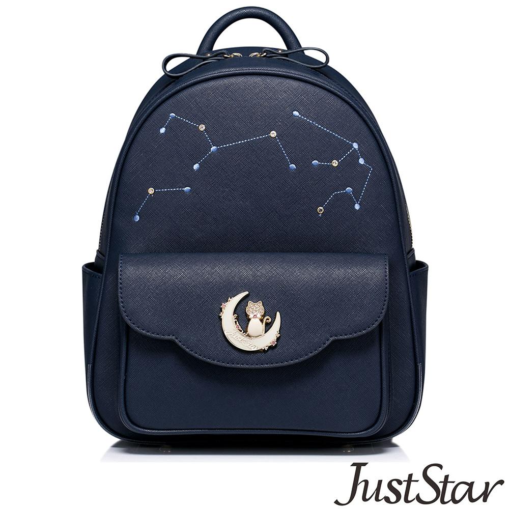 Just Star 星月貓咪cute後背包 深海藍