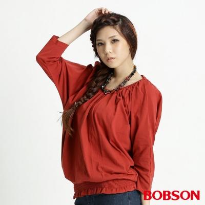 BOBSON 女款露肩五分連袖上衣(紅27)
