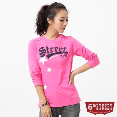 5th STREET T恤 基本繡花長袖T恤-女-桃紅