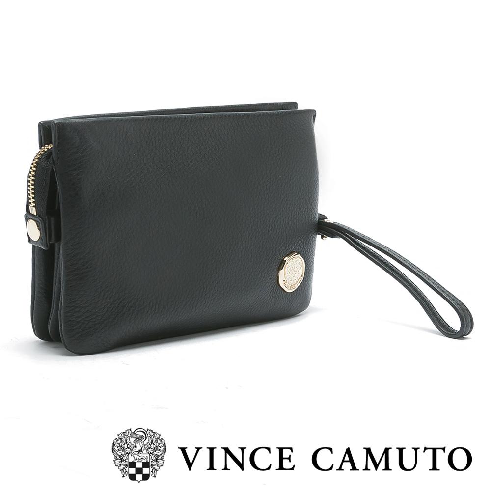 VINCE CAMUTO時尚簡約手拿斜背兩用真皮隨身包-黑色