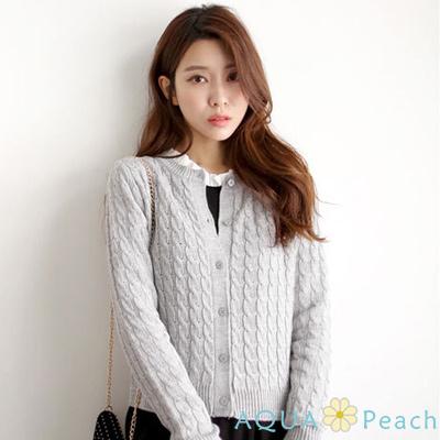 純色單排釦麻花針織外套-共三色-AQUA-Peach