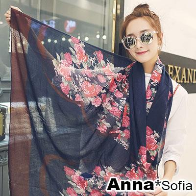 【2件450】AnnaSofia 璇繪花瑰 拷克邊韓國棉圍巾披肩(藏藍系)