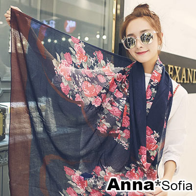 AnnaSofia-璇繪花瑰-拷克邊韓國棉圍巾披肩-藏藍系
