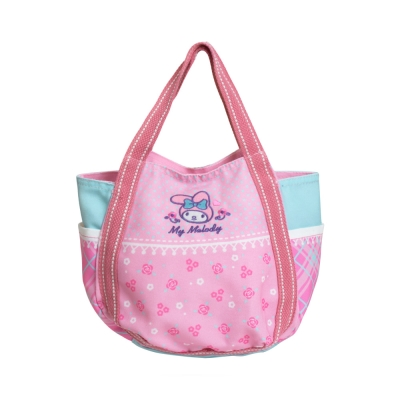 Sanrio-美樂蒂拼布風帆布提袋-氣球包-粉紅花