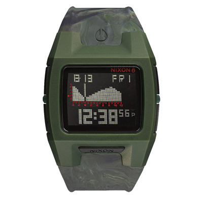 NIXON LODOWN SILICONE 迷幻漩渦海潮休閒腕錶-迷幻綠/39mmX31m
