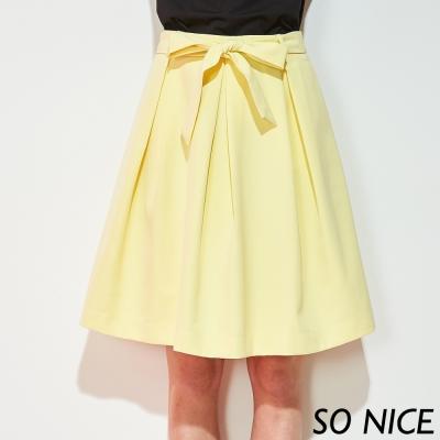 SO NICE時尚亮黃綁帶圓裙